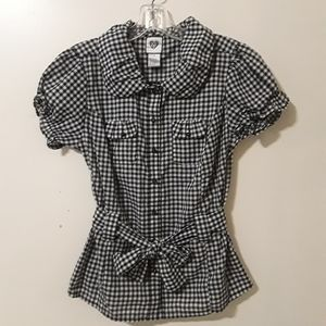 Gingham Button-up Short Sleeve Belted Blouse